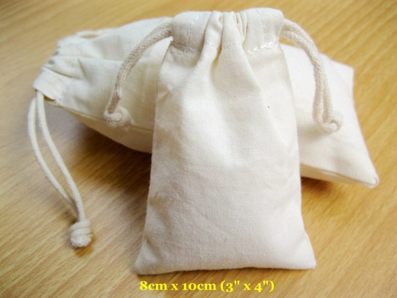 "50 pcs 3""x4"" Craft Bags Natural Muslin Bags Calico Pouches Handmade Bags"