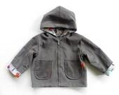 Woodland Animals Gray Corduroy Zip Up Hooded Jacket--Size 2T