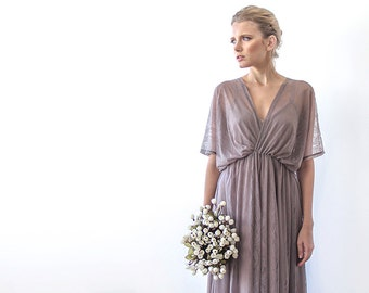 Vintage style maxi sheer lace dress, Taupe color and bat-wings sleeves