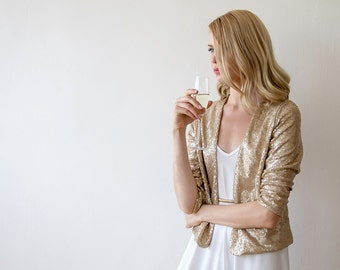 Sequin gold jacket with long sleeves, Long sleeves sparkling bridal jacket 2014