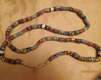 Strand of Powdered Glass Trade Beads/Kenya/ multi colored 40 inch strand/PJsBeadedEagle