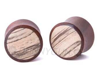 "1/2"" Pair Red Indonesian Mahogany with Tamarind Wood Inlay Plugs - Organic Body Piercing Jewelry Gauge"