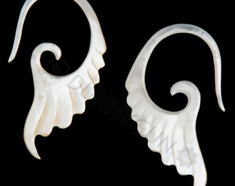 6G Pair Mother of Pearl Short Wing Gauged Earring Plugs 6 gauge Organic Hand Carved Body Piercing Jewelry