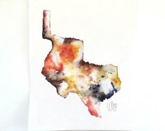 New! Republic of Texas Watercolor Map Print, 8x10 Watercolor Painting, Colorful Watercolor Map