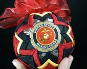 Quilted USMC Christmas Ornament, Crossed Red Gold Black Prints Military Pride Semper Fi United States Marine Corps
