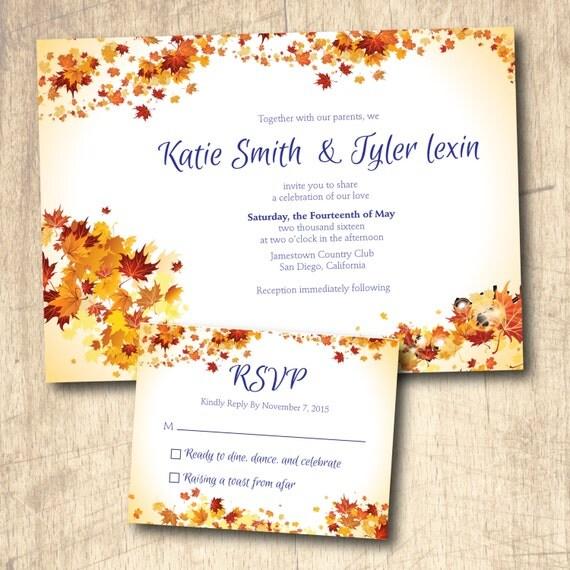 Fall Themed Wedding Invitations: Autumn Wedding Invitation Autumn Fall Theme By LivingHueDesign