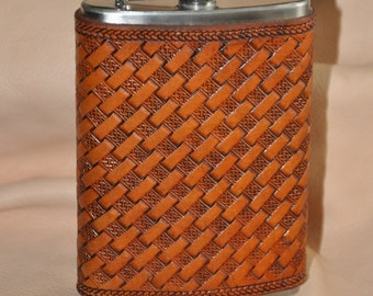 Flask Wrapped in Leather, basket weave with celtic knot pattern