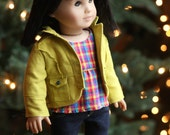 Chartreuse Linen Jacket, Inky Midnight Blue Linen High Waist Jeans and Multi-plaid Peasant Top for AG Doll