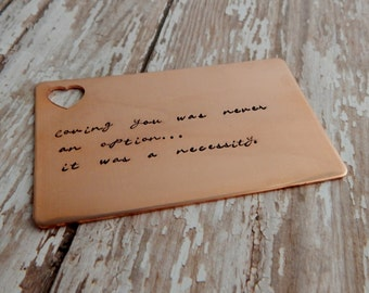 """Hand Stamped Copper Wallet Insert with Heart Cutout / """"Loving you was never an option~ it was a necessity"""" / 7 Year Anniversary"""