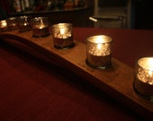 Centerpiece French Oak Wine Stave Candleholder with Nine Silver Mercury Votive Holders