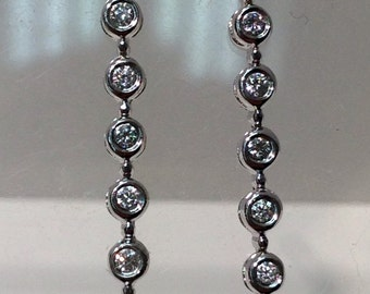 18K White Gold Dangling Diamond Earrings, Handmade