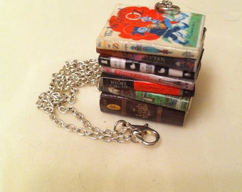 Custom Mini Book Stack Necklace
