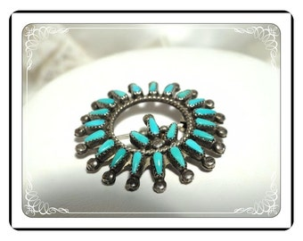 Sterling Silver Brooch - Vintage Turquoise Petit Point Brooch Southwestern Native American   Pin-1985a-032313000