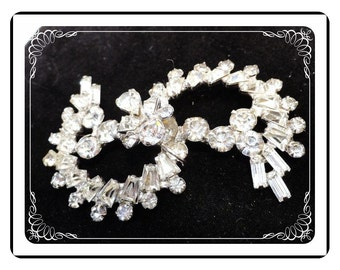 Rhinestone Serpent Brooch - Vintage Clear Rhinestones Pin - Great for Scarf or Sash    Pin-1613a-121012000