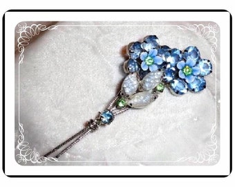 Blue Flower Bouquet Brooch - Pocket full of Vintage Posies -  Pin-1951a-012312000