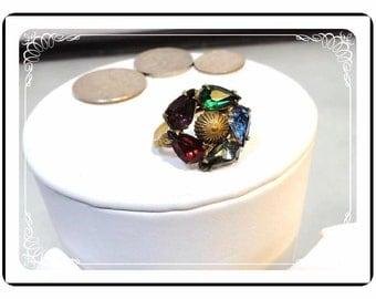 Vintage Brass Ring - Multi Colored Rhinestones - R1995a-122512000