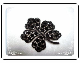 Vintage Weiss  Brooch - Black Jappaned Brooch  Pin-1845a-040810000