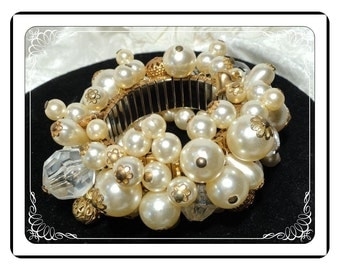 Bridal Cha-Cha Bracelet -  Bodacious with Faux Pearls and Hearts Brac-1939a-032313000