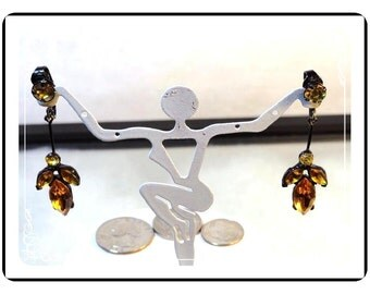Juliana Japaned Earrings  Amber Colored Dripping Rhinestone DE069a-090412031412031