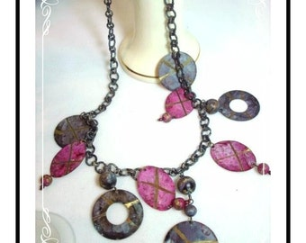 Rustic Tin Disk Necklace & Earring Marriage - Neck- 1231b-042512000