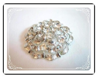 Vintage Rhinestone Brooch - Silvertone & Clear Rhinestones  Scalloped Domed Flower Pin-1108a-022312000