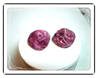 Molded Marbled Earrings - Vintage Purple Clay  Clip-ons E402a-040812000