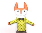 Fox Doll/ Fabric Rag Doll/ Bow Tie/ Animals/ Toys/ Nursery/ Baby Gift/ Kids Room/ Children's Decor/ Decoration/ Modern Nursery/ Organic