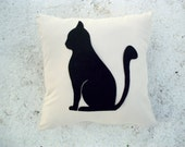 Meow pillow cover - Beige linen pillow with black cat - for Cat Lovers - Gift for her for children for mom - Ready Ship - Felt Sitting cat