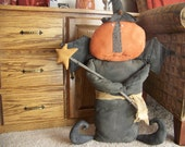 Primitive Large Pumpkin Witch Halloween Decor