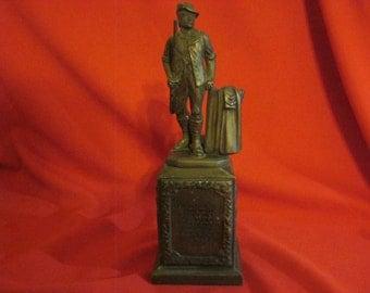 Vintage Bank Advertising Minuteman At Old North Bridge Statue Bronze Clad