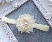 Girls- Headband-Ivory-Shabby-Flower Headband-Pearl-Rhinestones-Wedding-Bridal-Flowers for Hair-Bridesmaid-Flower Girl-Baby-baptism