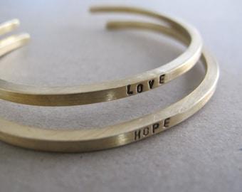 Mantra Cuff Bracelet - Inspirational Gold Brass Bracelet