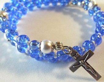 Blue and White Pearl Glass Rosary Wrap Bracelet