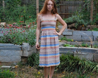 natural rainbow small medium womens sun dress sleeveless knee length