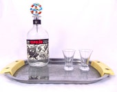 RESERVED: 1940's ART DECO Barware • Vintage Chrome Chase Star Time Cocktail Tray with Bakelite Handles