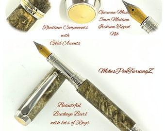 Custom Wooden Pen Custom Fountain Pen Beautiful Buckeye Burl Rhodium and Gold Hardware 779FPA