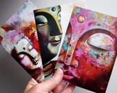 art postcards - set of 3 different