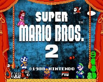 Video Game Art - Super Mario Bros 2 - Digital Art Print - Nintendo Tribute
