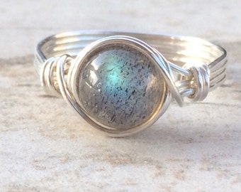ON SALE Labradorite Wire Wrapped Ring, Labradorite Gemstone Ring, Sterling Silver Filled Ring, Any Size