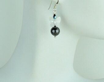 Swarovski crystal black pearl and crystal butterfly earrings. Earrings for wedding.