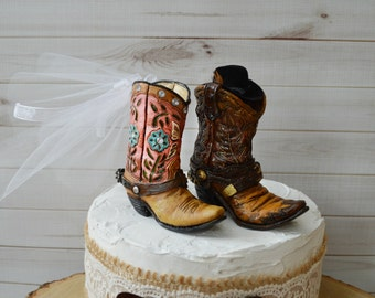Cowboy boot wedding cake topper for grooms cake western wedding cowgirl cowboy bride and groom topper western wedding rodeo ranch barn hat