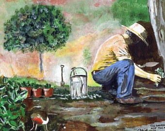 The Gardener and the Robin -Print of  Original Acrylic Painting by Dave Smith