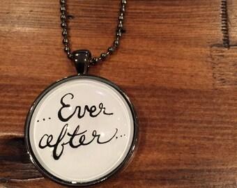 "Ever after… 1 1/4"" Gunmetal Glass Pendant"