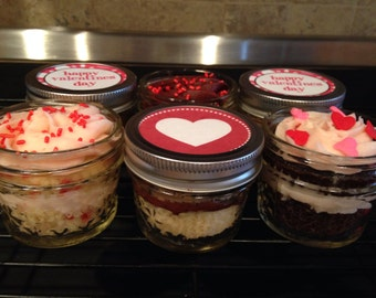 Valentine's Day Cupcakes-Red Velvet Jar Cakes-2 Jar Cakes 4 oz-Red Velvet Cupcakes-I Love You-Happy Valentine's Day-Care Package