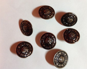 set of 7 antique buttons gold black beautiful  design upcycled from Wool sweater knitting supply sewing supply