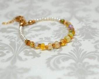 Ethiopian opal bracelet  24k gold vermeil bead bracelet Delicate genuine Welo opal gemstone bracelet October birthstone Luxury opal jewelry