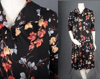 Vintage Drop waist dress pleated black floral sixties 1970s flapper women size M medium