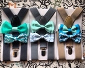 Light Gray Suspender & Bowtie Set Newborn Boy Bowties Grey Toddler Suspender Boy Necktie Men bow tie Fathers day Matching Wedding ring beare