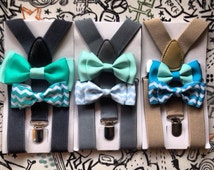 Light Gray Suspender & Bowtie Set Newborn Boy Bowties Grey Toddler Suspender Boy Necktie Men bow tie Fathers day Matching Wedding ring beare