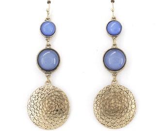 Elegant Gold tone Blue Stone Triple Liner Dangle Drop Earrings,G4